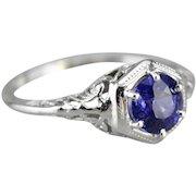 Sapphire Filigree Engagement Ring