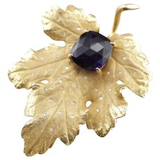 Sculpted Amethyst and Diamond Leaf Pin