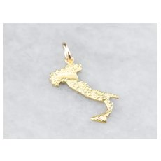 18K Topographic Map of Italy Charm