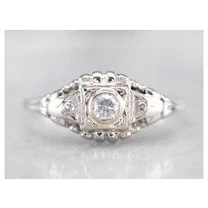 Retro Diamond Structured Ring