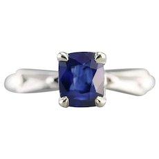 Retro Upcycled Ceylon Sapphire Solitaire Ring