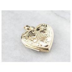 Vintage 14K Heart Locket Pendant