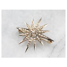 Antique Cultured Pearl Star Brooch