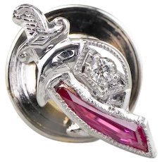 Shriners Diamond and Synthetic Ruby Tie Tack