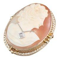 Retro Cameo Habille Diamond Brooch Pendant