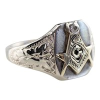 Diamond Masonic Floral Men's Ring