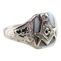 Diamond Masonic Floral Men's Ring