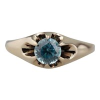 Bright Round Blue Zircon Solitaire Ring
