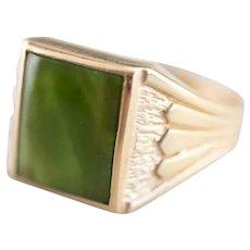 Egyptian Revival Men's Retro Era Jade Cabochon Ring