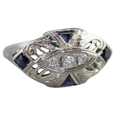 Fantastic Art Deco Diamond and Synthetic Sapphire Ring