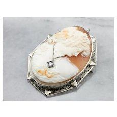 Art Deco Diamond Habille Cameo Brooch Pendant