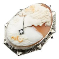 Art Deco Diamond Habille Cameo Brooch Pendant