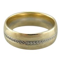 Mixed Metal Simply Patterned Wedding Band