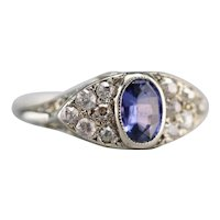 Stunning Sapphire and Old Mine Cut Diamond Ring