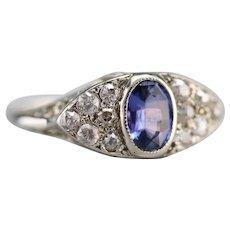 Stunning Sapphire and Old Mine Cut Diamond Ring