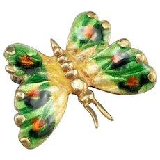 Italian 18 Karat Gold Enamel Butterfly Pin