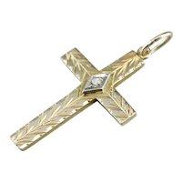 Retro Era Diamond Cross Pendant