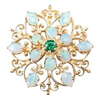 Emerald Opal Ornate Brooch Pendant
