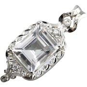 White Topaz and Diamond Upcycled Bridal Pendant