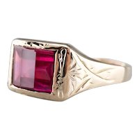 Etched Vintage Ruby Glass Ring