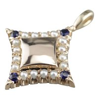 Sapphire and Cultured Seed Pearl Star Pendant