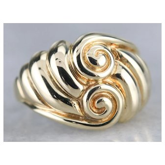 Mid Century Swirling Domed Statement Ring