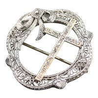 Upcycled Diamond Filigree Cross Brooch