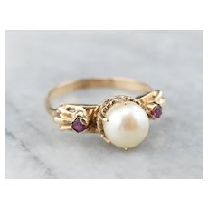 Vintage Cultured Pearl and Ruby Three Stone Ring