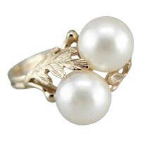 Vintage Double Cultured Pearl Cocktail Ring