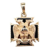 Masonic Double Headed Eagle Knights Templar Cross Pendant