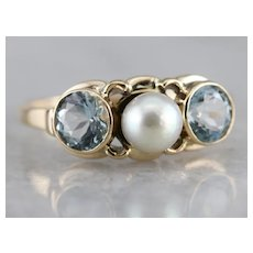 Vintage Cultured Pearl and Aquamarine Ring