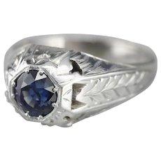 Stunning Men's Round Sapphire Ring