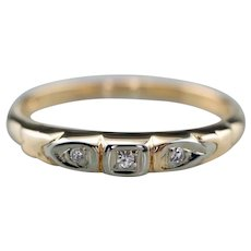 Retro Diamond Two Tone Wedding Band