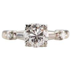 Retro Era Diamond Engagement Ring with Diamond Shoulders