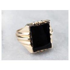 Mid Century Black Onyx Men's Ring