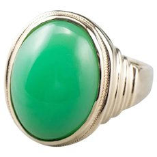 Unisex Mid Century Chrysoprase Ring