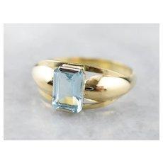 Vintage Blue Topaz Gold Ring