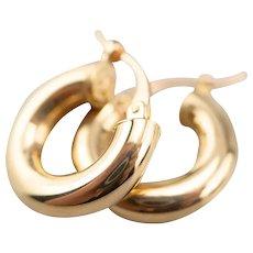 Small Puffy 18 Karat Gold Hoop Earrings