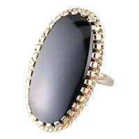 Mid Century Black Onyx Statement Ring