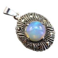 Art Deco Opal and Marcasite Pendant