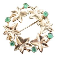 Maple Leaf and Emerald Cabochon Circle Pin