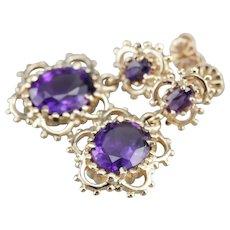 Ornate Upcycled Amethyst Drop Earrings