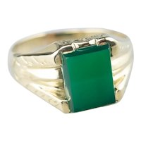 Engraved Green Onyx Ring