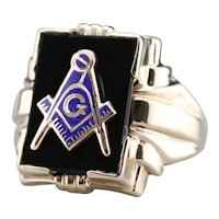 Early Retro Era Men's Black Onyx Masonic Ring