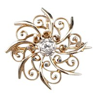 Retro Diamond Filigree Brooch or Watch Pin