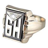 "Men's ""GH"" Monogrammed Diamond and Onyx Ring"