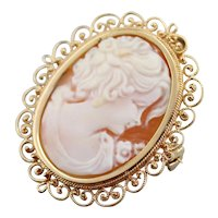 Mid Century Cameo Filigree Pin or Pendant