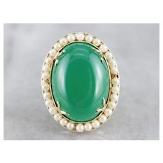 Vintage Green Onyx Cocktail Ring