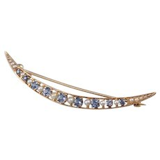 Antique Synthetic Sapphire and Seed Pearl Crescent Moon Pin