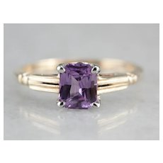 Upcycled Purple Sapphire Solitaire Ring